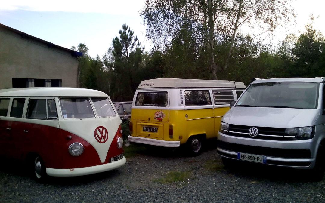 3 générations de transporter volkswagen en location depuis Bordeaux
