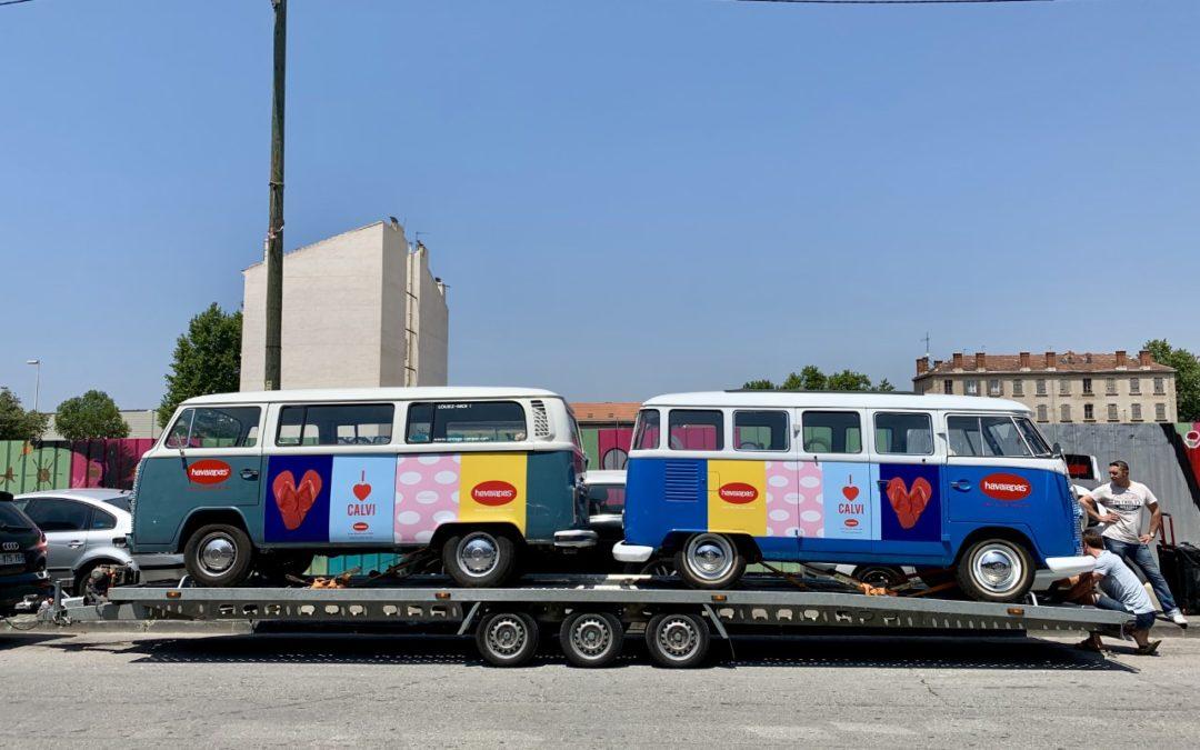 convoi combi Volkswagen vintage pour Havaianas au Festival Calvi on the rock – Corse